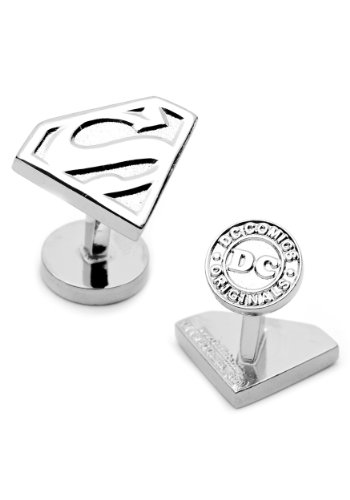 DC+Comics Products : DC Comics Silver Plated Superman Shield Cufflinks