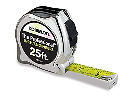 Komelon 433IEHV High-Visibility Professional Tape Measure both Inch and Engineer Scale Printed 33-feet by 1-Inch, Chrome Komelon USA