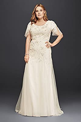 Net Plus Size Modest Wedding Dress with Floral Lace Style 8SLMS251111
