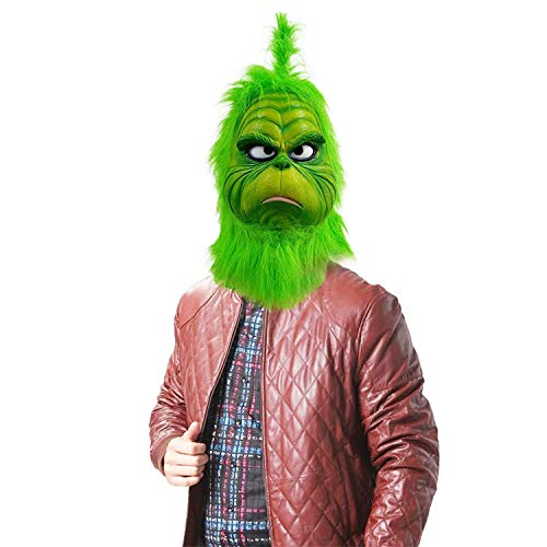 (Grinch Mask Costume Face Adult - Deluxe Full Head Latex Mr Grinch Mask Kids Cosplay)