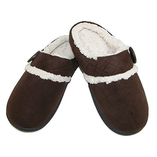 Dearfoams Womens Microsuede Clog Slipper with Memory Foam, Xlarge, Espresso ()