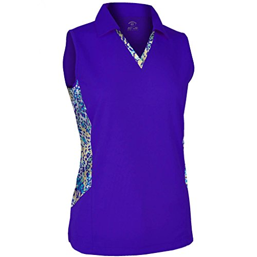 Monterey Club Ladies Dry Swing Mallard Water Line Contrast Sleeveless Shirt #2668 (Dahila Purple, ()