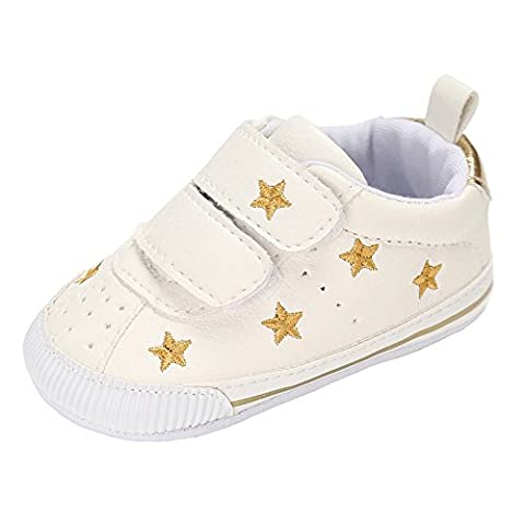 Annnowl Baby Shoes Soft Sole Sneakes 0-18 Months (12-18 Months, Gold Stars) - Winter Stars