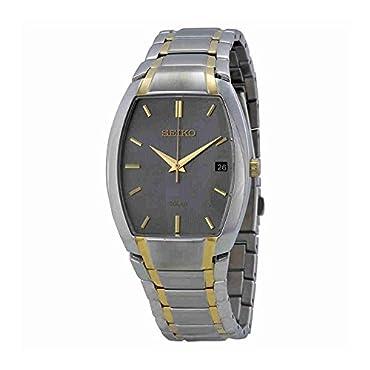 Seiko Men's SNE334 Dress Solar Analog Display Japanese Quartz Two Tone Watch