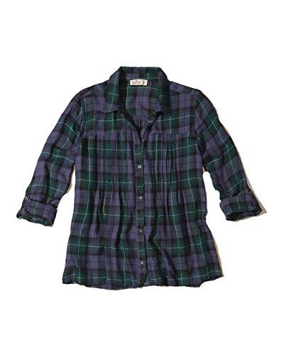 Hollister Women's Button Down Shirt (M, Pintuck Purple Plaid)