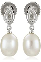 Sterling Silver 7-8mm White Freshwater Cultured Pearl and Diamond Drop Earrings