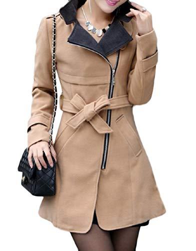 Women's Fit Woolen Winter Coat Mogogo Slim Belted Mid Side Fall Zip Khaki Long aqaOwf