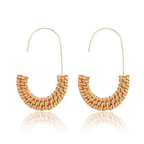 Alaxy Rattan Earrings for Women Handmade Straw Wicker Braid Drop Dangle Earrings Lightweight Geometric Statement Earrings (Natural color) (Contact Rattan Direct)