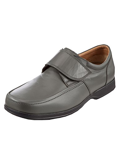 Mens Touch Fastening Wide/Deep Fitting Classic Style Shoes Grey