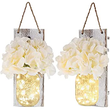 Rustic Wall Sconces - Mason Jars Sconce, 2 Set Mason Jar Lights with Fairy Lights,Vintage Wrought Iron Hooks, Silk Hydrangea Flower and LED Strip Lights Design for Home Kitchen Decoration