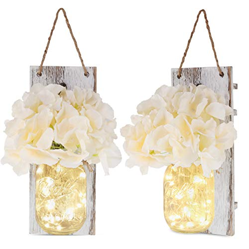 Rustic Wall Sconces - Mason Jars Sconce, 2 Set Mason Jar Lights with Fairy Lights,Vintage Wrought Iron Hooks, Silk Hydrangea Flower and LED Strip Lights Design for Home Kitchen Decoration]()