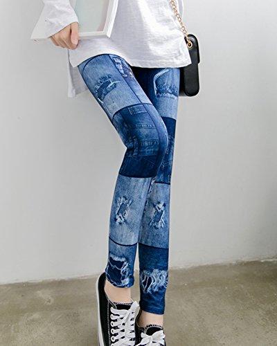 Imitation Lanhole Taille Stretch Jean Pantalon Jeggings Legging Up Haute Push Femme 7Rqxpn0x