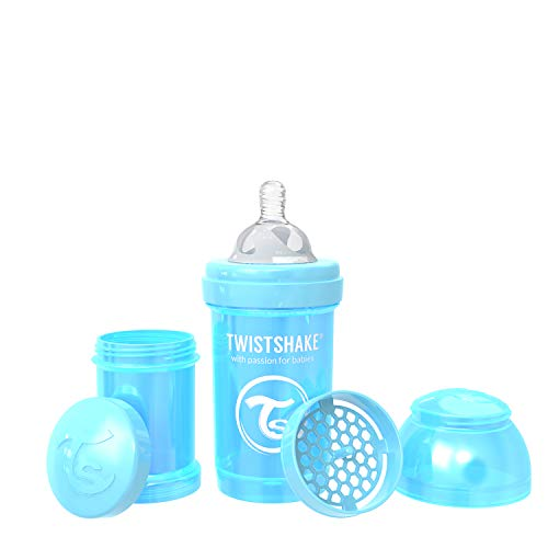 Twistshake Anti-Colic Bottles for Baby Care, Bottle Food Products (180ml/6oz) (Pearl Blue)