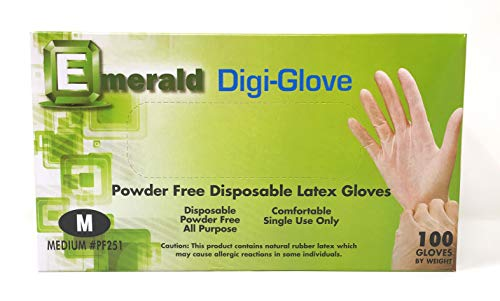 Emerald Digi-Gloves, Powder Free Disposable Latex Gloves (Medium)