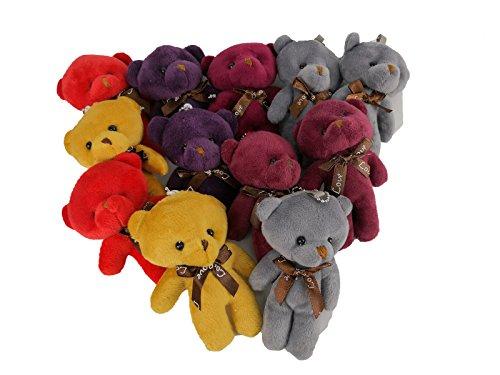 HAPTIME Plush Teddy Bears Stuffed Animals Soft Toy (1 Dozen) - Bulk, Assorted Colors by HAPTIME