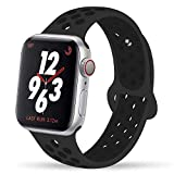 YC YANCH Greatou Compatible for Apple Watch Band 38mm,Soft Silicone Sport Band Replacement Wrist Strap Compatible for iWatch Apple Watch Series 3/2/1,Nike+,Sport,Edition,M/L,Anthracite Black