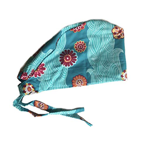 Women's Front Fold Tie Back Scrub Cap Surgical Cap Orange and Pink Flowers Blue Waves