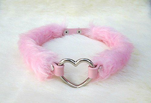 Kawaii Heart Choker Pink Faux Fur Fluffy Chocker DDLG Fur Collar Necklace Fairy Kei Punk Emo Pastel Goth Pet Play