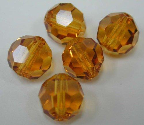 (About 12.5 yen one Unit Price) 144 pcs Czech glass (Preciosa) round regular cut 8 mm Topaz (brown) 1 box (japan import) (Cut Glass Topaz)