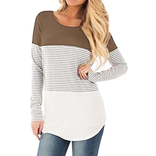Shirt Khaki Pants (Goddessvan Women Long Sleeve Striped Patchwork Stretchy Tops Blouse T-Shirt (S, Khaki))