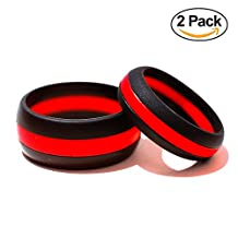 Silicone Wedding Ring His & Hers Set - 2 Pack Thin Blue Line Rubber Wedding Band Set - ( Blue Line , Red Line , Camo )