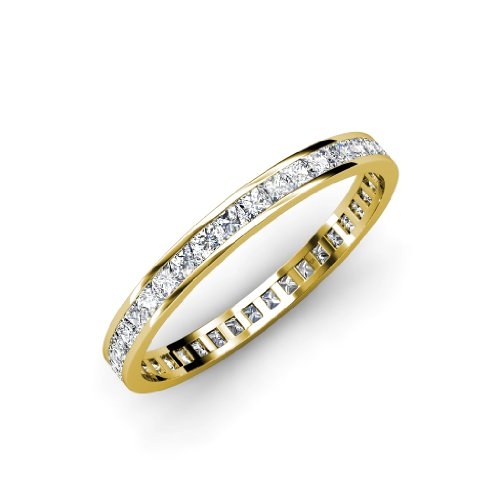 (TriJewels Diamond Princess Cut Womens Eternity Band 1.54 ctw to 1.82 ctw 14K Yellow Gold.size 6.0)