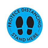 10 Pcs Social Distancing Floor Decals, Safety Floor Sign Marker - Please Stand Here 6 Feet Apart Sign