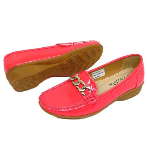 Ladies Coral Patent Trueform Comfort Kitten Heel Wedge Slip-On Loafer Shoes Sizes 3-8 gAnnw7tG