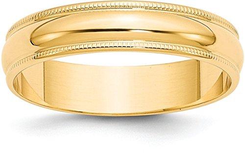 14k Yellow Gold 5mm Plain Half Round Classic Wedding Band with Milgrain Edge - Size 12.5 14k Yellow Gold Milgrain Edge