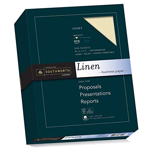 Southworth Fine Linen Paper, Size 24, Ivory, 500 Sheets (564C) (Resume Southworth Paper Linen)