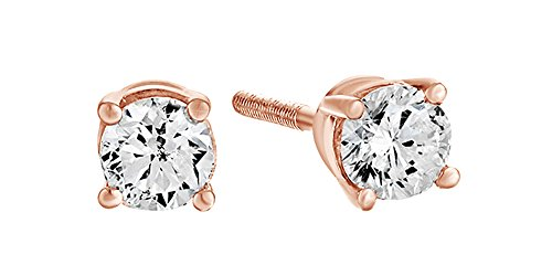 14K Solid Rose Gold Natural Diamond Solitaire Stud Earrings With Screw Back (0.25 (0.25 Ct Solitaire)