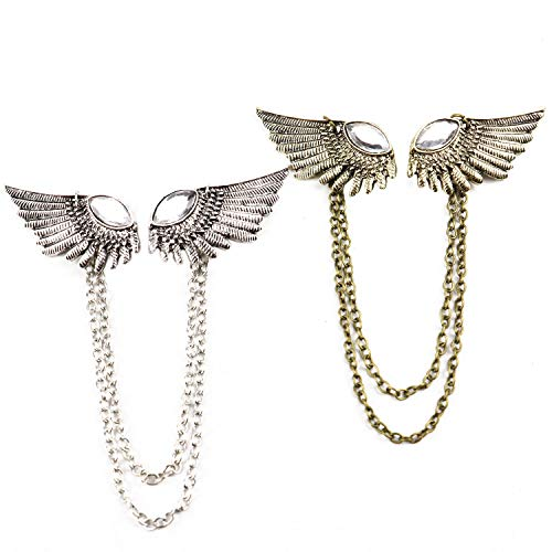 (Pomeat 2 Pcs Retro Mens Angels Wings Collar Clip Brooch Pin with Chain Tassels, Antique Silver and Antique Bronze )