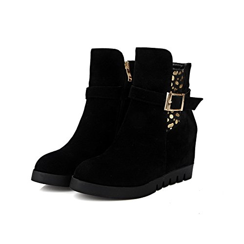Round Women's Suede High Odomolor Boots Closed Low Heels Solid Imitated Black Toe Top 5qd6Cdn