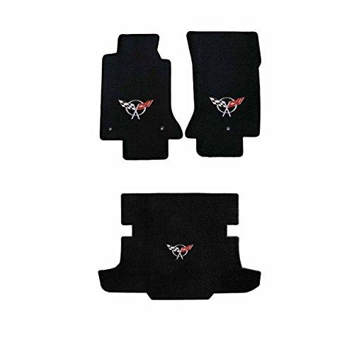 (C5 Corvette Hardtop Black Ultimat 3pc Floor & Trunk Mats - Silver Flags Logo)