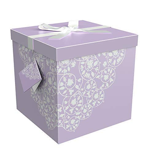 Gift Box 10x10x10 Cassandra Pop up in Seconds comes with Decorative Ribbon mounted on the lid A Gift Tag and Tissue Paper - No Glue or Tape Required