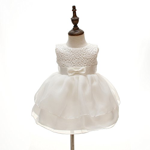 Meiqiduo Baby Girls Dresses Christening Wedding Pageant Bow Formal Dress Ivory White