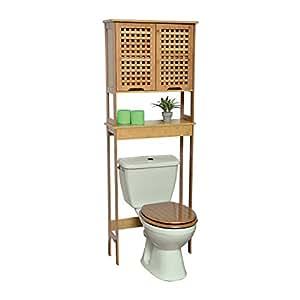 TENDANCE WC Mueble Baño Koh Lanta con 1 Estantería y 2 Puertas con 1 Estante en el Interior - Armario Baño Bambú 63 x 23 x 173 cm: Amazon.es: Hogar