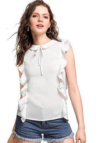 WDIRA Women's Tie Front Ruffle Trim Keyhole Back Casual Top Blouse White (Ruffle Trim Tie Top)