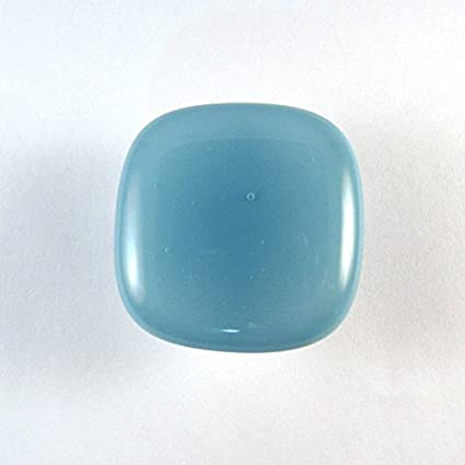 Mineral Blue Glass Cabinet Knob   Colormax Collection (118 Colors) Rounded  Square Blue Glass
