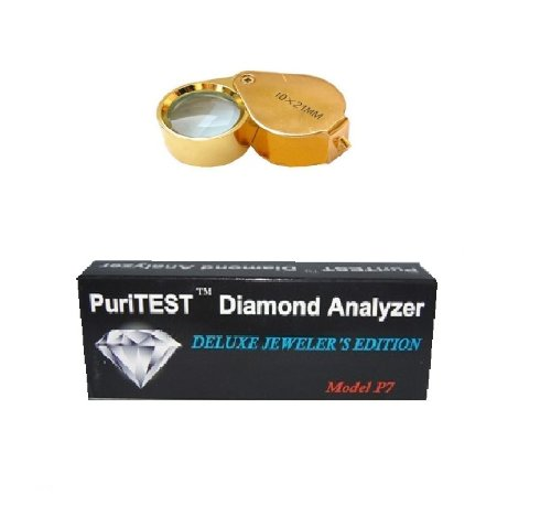 PuriTEST Jeweler's Diamond Testing Pieces-Professional Loupe and Genuine Electronic Diamond Tester Machine