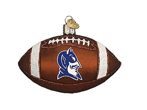 Glass Mascot Football Ornament - Old World Christmas Duke Football Glass Ornament