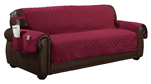 Duck River Textiles Quick Fit Reversible Water Resistant Cover, Extra Sofa, Garnet-Natural