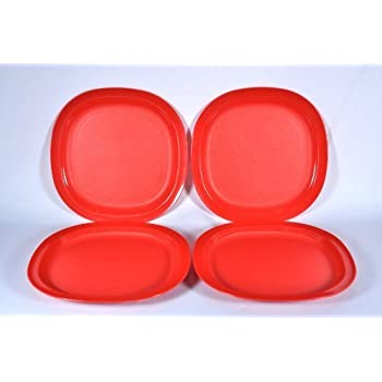 Tupperware 8 Inch Square Plates in Red (Four)  sc 1 st  Amazon.com & Amazon.com | Tupperware 8 Inch Square Plates in Red (Four): Luncheon ...