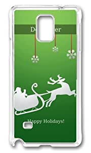 MOKSHOP Adorable Happy December Holidays Hard Case Protective Shell Cell Phone Cover For Samsung Galaxy Note 4 - PC Transparent