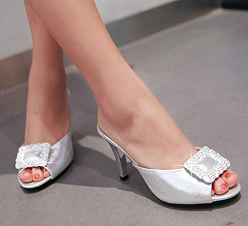 Aisun Donna Elegante Strass Peep Toe Slip On Sandali Con Tacco A Spillo Tacco Alto Argento
