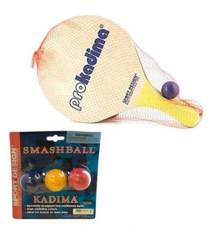 Team Beach Ball - Pro Kadima Paddle Set Plus Replacement Smash Balls Bundle