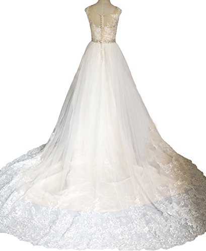 Una Da Sposa Linea Sposa O Di Abito Abito Champagne Luce Bianco Collo Pizzo Bonbete UqAEWzfn