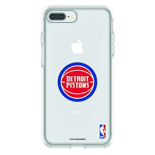 (Fan Brander NBA Clear Phone case with Primary Logo Design, Compatible with Apple iPhone 8 Plus and iPhone 7 Plus with OtterBox Symmetry Series (Detroit Pistons))