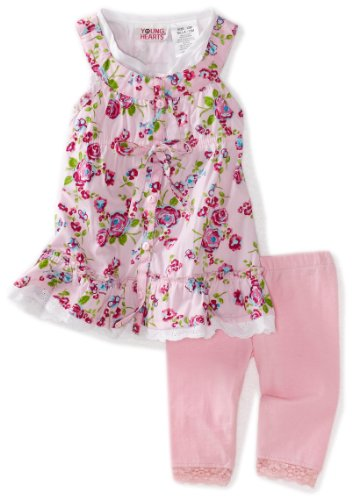 Young Hearts Baby Girls' Pink Woven Dress and Pink Pant Set