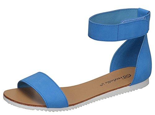 Breckelles Womens Minimalista Cinturino Alla Caviglia Velcro Comfort Sandalo Piatto Blu